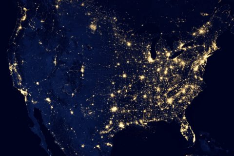 America at night shot by NASA